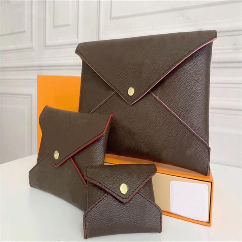 Wholesale Portefeuille en cuir pour femmes Multicolore Designer Multicolore Porte-cartes Porte-monnaie Classic 3 pièces Ensemble