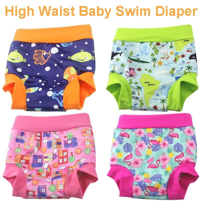 High Waist Baby Cloth Diaper Reusable Printed Trunks Kid Infant Washable Nappies High Quality Pool Pant Baby Swim Diaper Nappy LJ201023