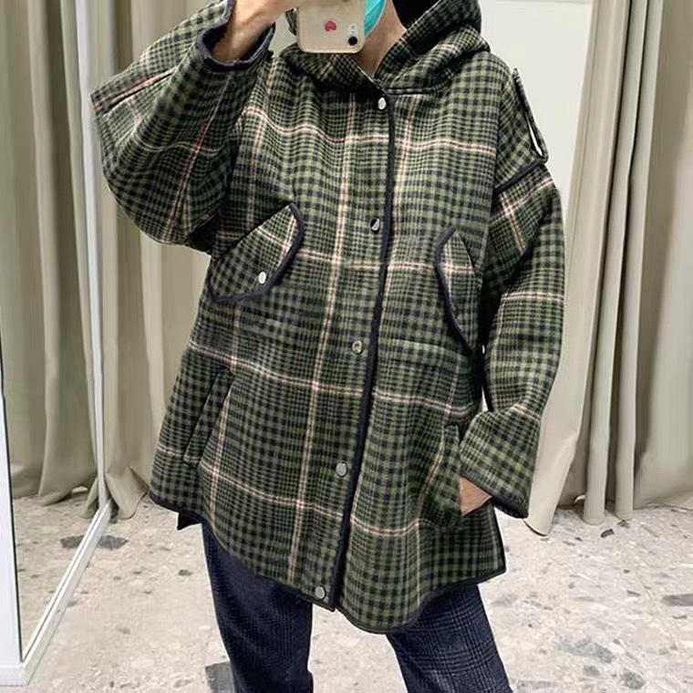 Law M Home Fácil Caso Grano de Nuevo Fondo de 2021 Investigadores de otoño con capucha Acepta Abrigo de lana de cintura Mujer