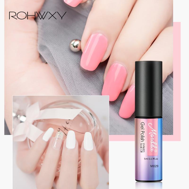 ROHWXY 5ml Glitter Jel Oje Yarı Kalıcı Kapalı UV Jel Tırnak Sanat Vernik Parlayan Astar Manikür Lak Soak