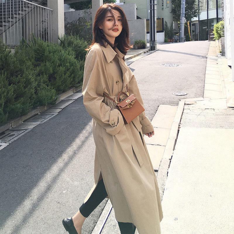 Новая весна осень моды случайных женщины хаки пальто Длинного Верхняя одежда Сыпучего Управление леди ветровка с поясом