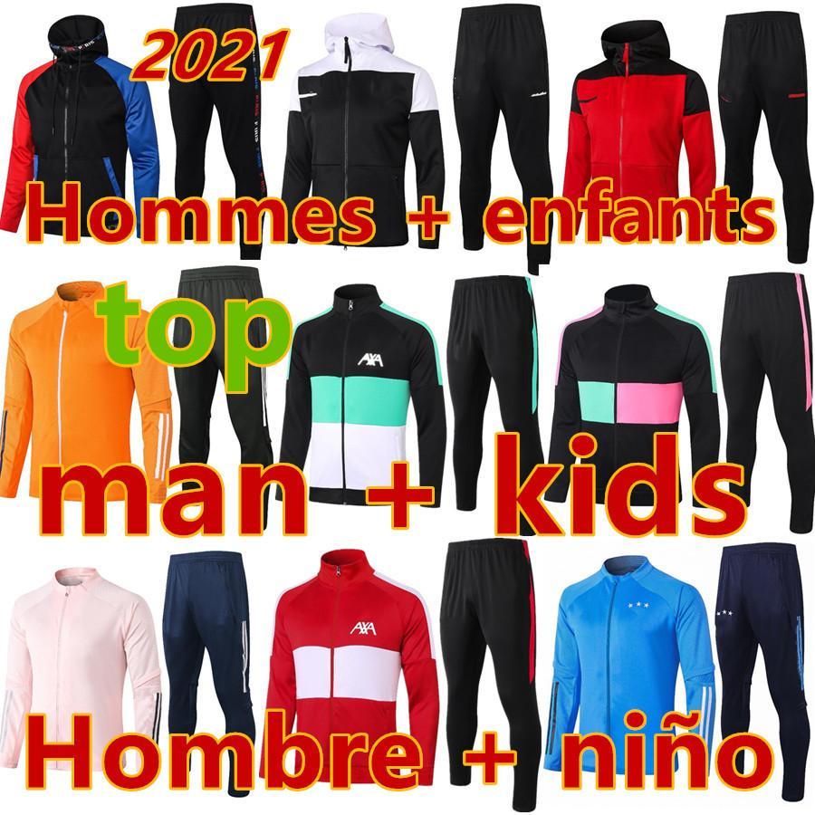 Chandal jerseys crianças 2021 2022 adulto e crianças jaqueta hoodie hoodie futebol tracksuit futebol jersey sobrevetimento pé