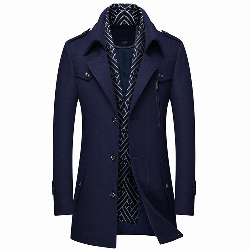 Плюс размер 5XL 6xL мужская шарф воротник шерстяной шерстяной шерстяной шерстяной шерстяной зима новая мода бизнес толстый и теплый мужской бренд навигации на флоте кофе 201214