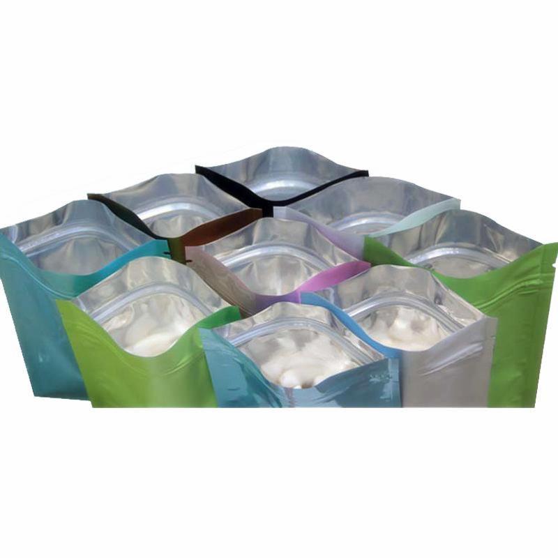 Borse in plastica nera mylar borse in alluminio con cerniera con cerniera per stoccaggio di cibo a lungo termine e protezione da collezione 8 colori due laterale Coltjt