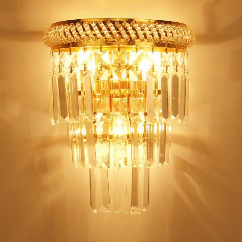 Творческая гостиная европейский стиль хрустальная лестница проходная спальня прицел кристалл современный минималистский настенный светильник MJ1113