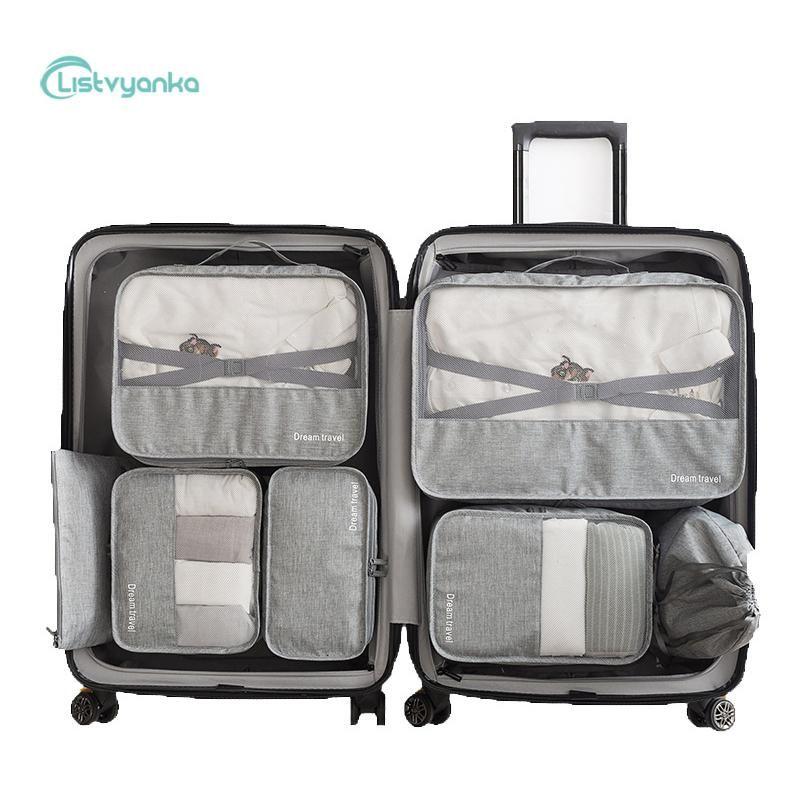 7 Pcs/Set Suitcase Organizer Travel Organizer Set Luggage Cable Clothes Shoe Bags For Travel Storage Bags Portable