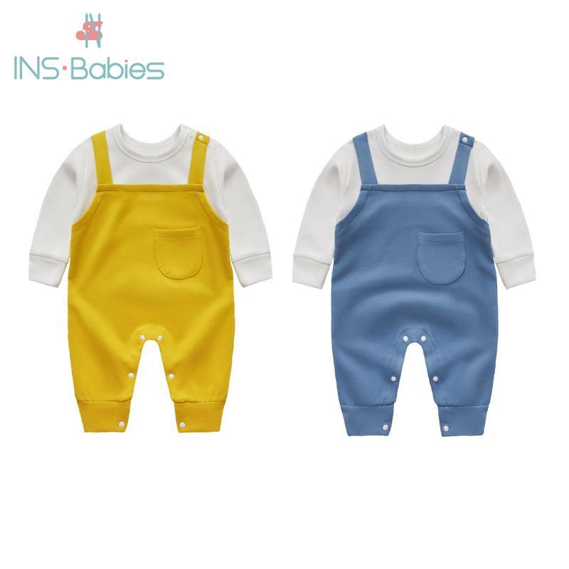 2020 Yenidoğan Erkek Kız Sonbahar Romper Yumuşak Giysi Pamuk Giysi Bebek Uzun Kollu Tulum Bebek Erkek Tırmanma Dış Giyim Bebekleri Y1221