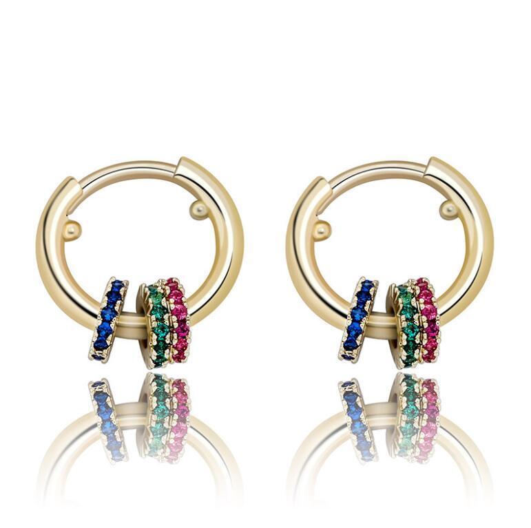 Hoop Huggie Boucles d'oreilles Couleur Argent Or canon blsck couleur Anneau d'oreille pour les femmes hommes Boucles d'Oreille clip de couleur