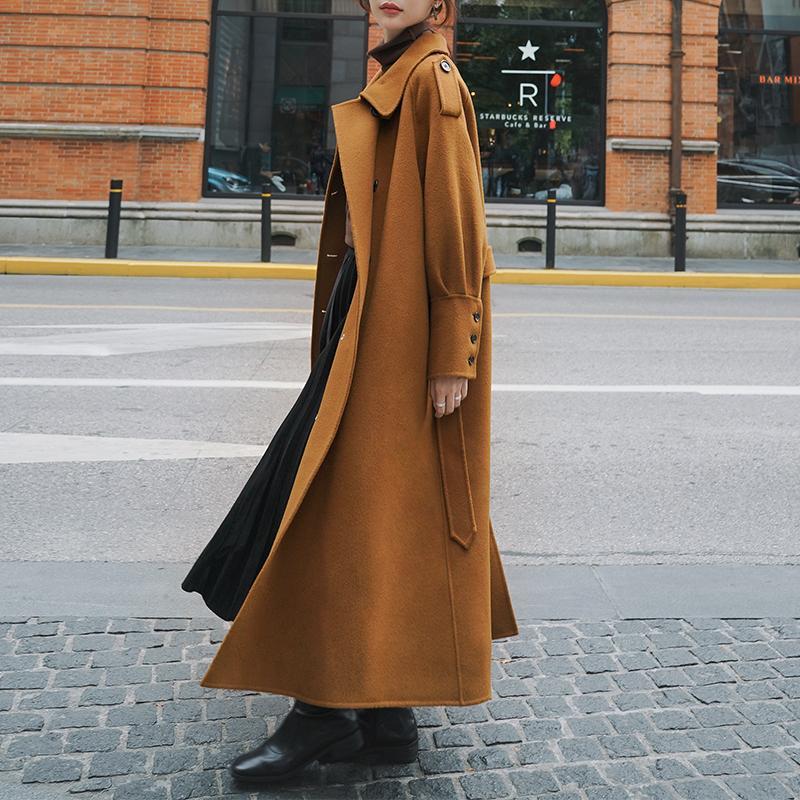 FORYUNSHES 여성 겨울 모직 Outercoat 한국어 스타일 패션 포켓 벨티드 따뜻한 두꺼운 커피 버튼 롱 코트 자켓 2020 혼합