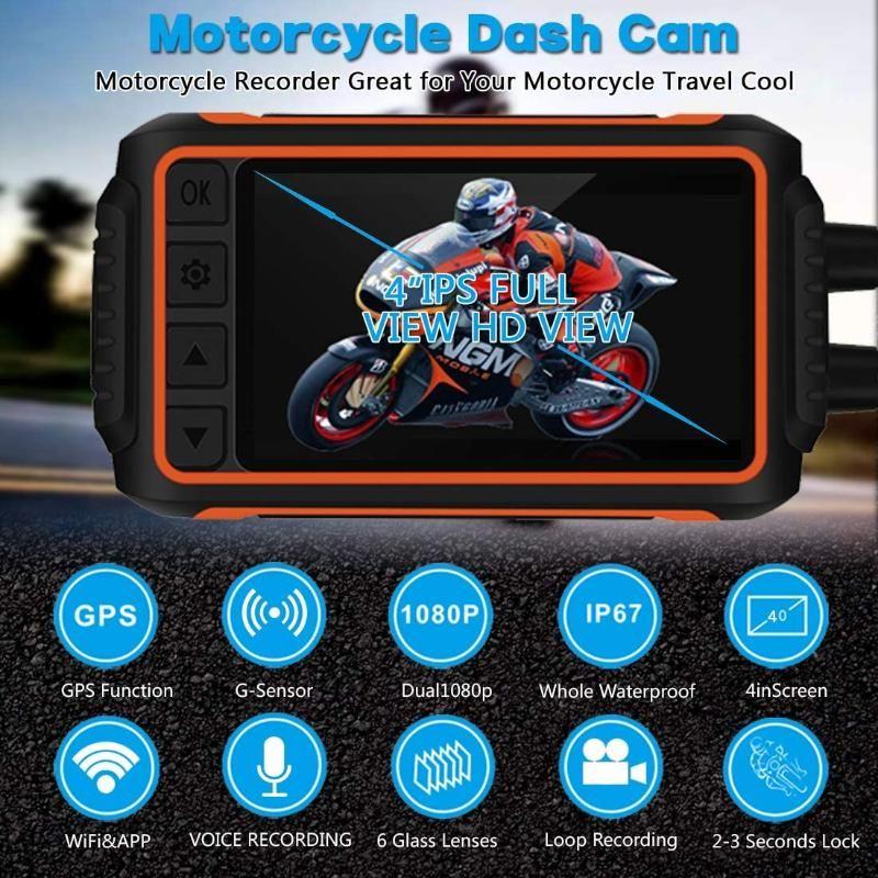Adaptadores de teléfono celular Dash Cam Cámara de grabación a prueba de agua para la motocicleta, 4 '' LCD Frente delantero y trasero FHD 1080p lente de gran angular 150 ° con WI-F