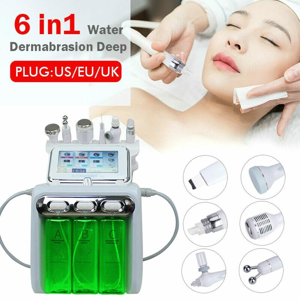 6in1 Hydrafacial جلدي المياه جهاز الأكسجين جت قشر الجلد هيدرا الغسيل الوجه الجمال التنظيف العميق RF الوجه رفع الباردة المطرقة