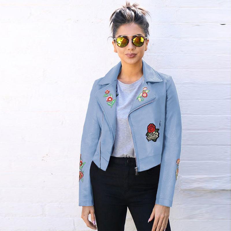 Женские Куртки Женщины 2021 Улица Вышитая короткая куртка с молнией Локомо Осень зима Элегантная пальто # 820