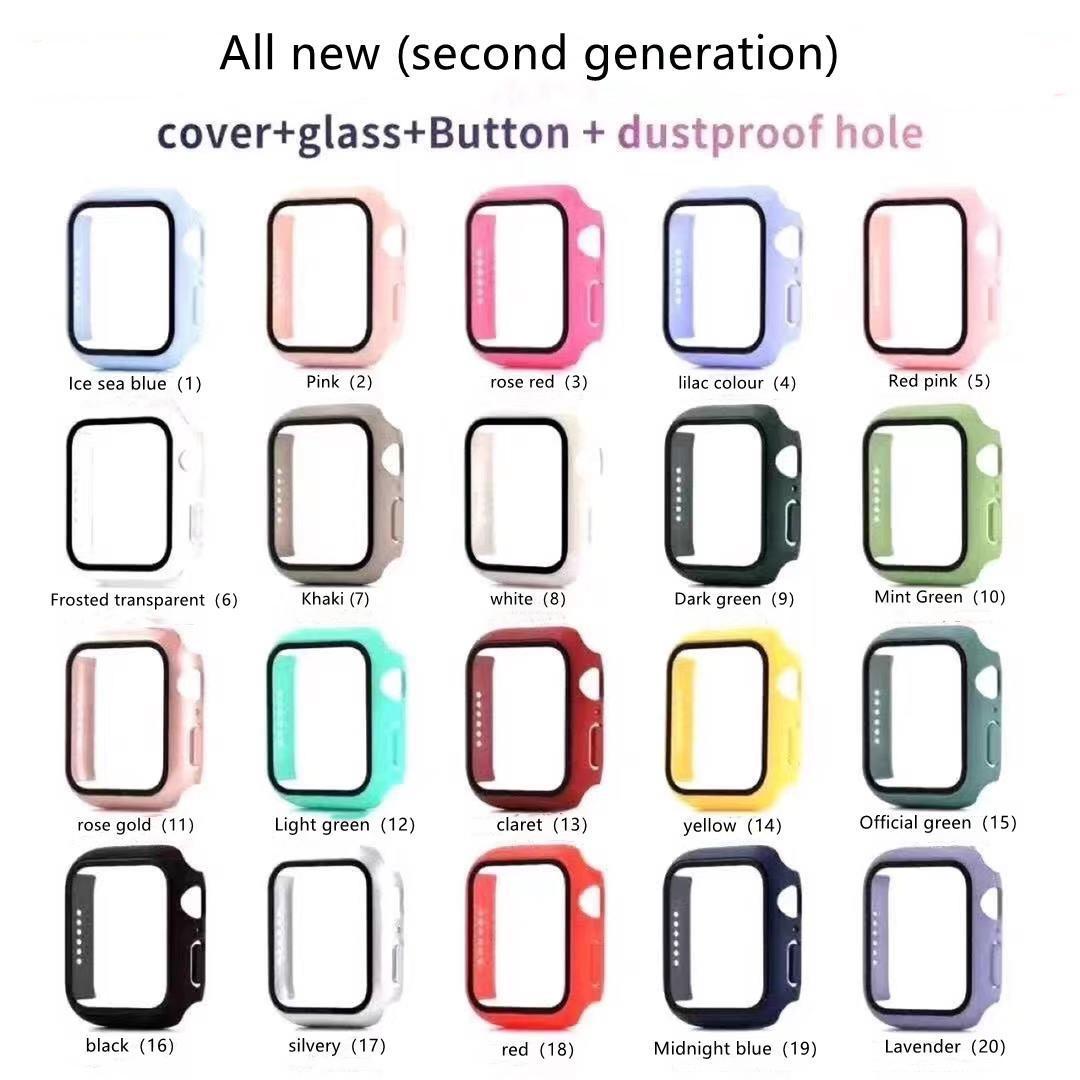 Saat Durumda Elektrolizle Sert Ekran Koruyucusu Ile Apple Iwatch Serisi 5/4/3/2/1 38 40 42 44mm için Tam Kapsama Kılıfı
