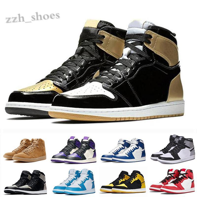 NIKE air Jordan 1 RETRO 2020 ayakkabı 1s Bloodline Obsidiyen UNC Birliği Paramparça Backboard BD Kırık Metalik 1 Spor Sneakers Erkek Trainer PR07