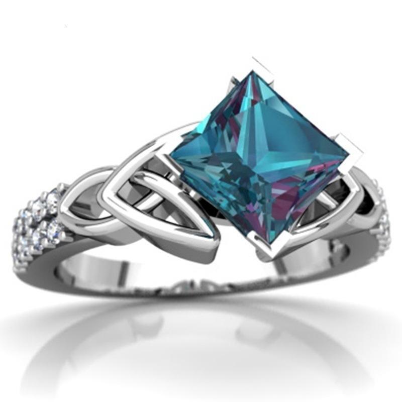 Joyas de moda de anillo de diamante retro de topacio de cristal para mujer de gota 080301