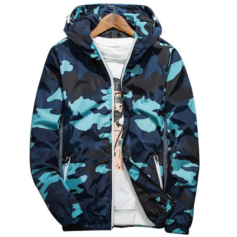 2020 весна осень новый мужской куртки на молнии Мужчины с длинным рукавом куртки Мужской Повседневный Камуфляж Streetwear Мужские пальто Мужская одежда