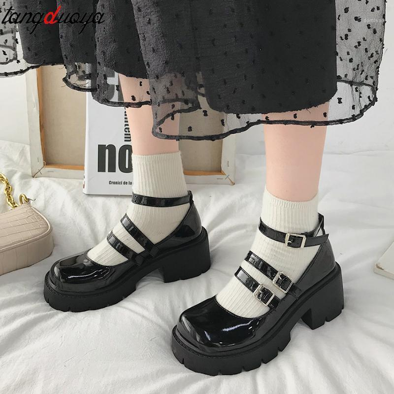 Japanese Style Lolita Shoes for Girls Women JK Black Gothic Thicken College Student cosplay costume High Heel Round Toe Shoes1