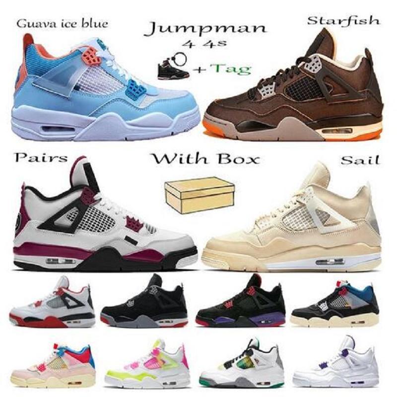 صندوق مزدوج Jumpman 4 Union رجالي أحذية كرة السلة 4S Sail الأبيض الاسمنت UNC 3 شظية الليزر البرتقالي اسكواش حذاء رياضة رويال