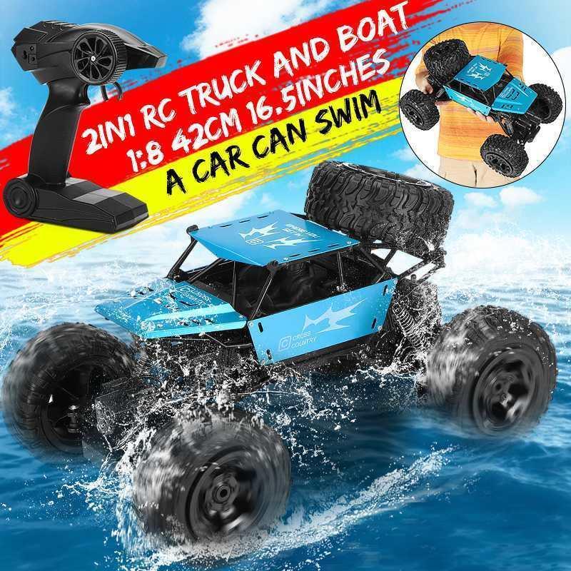 1: 8 42cm Barco RC Monster Truck 2.4G de radio 4WD Off-road del vehículo eléctrico de control remoto de coches de recuerdos Juguetes para niños Niños