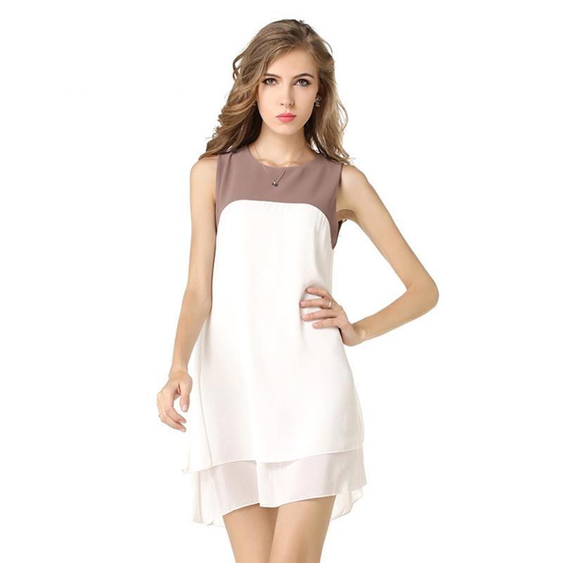 Moda Sundress Mujer Estilo Maxi Plus Mini Hollow Out 2020 Tanque de Vestido elegante Casual Flojo O Cuello Vestidos Tamaño Soli Confortable