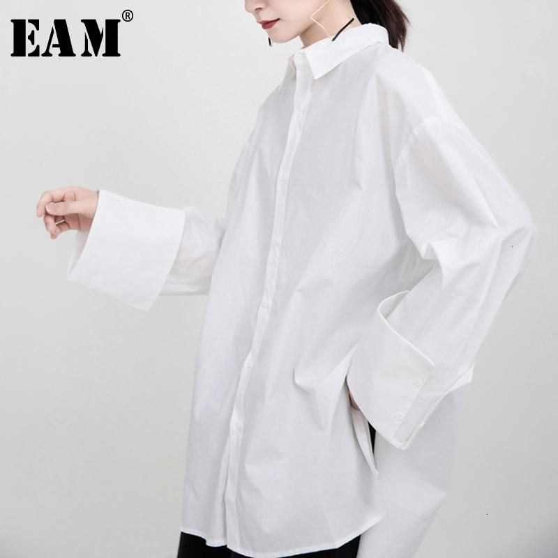 [EAM] Women Whitevent Brief Big Size Blouse New Lapel Long Sleeve Loose Fit Shirt Fashion Tide Spring Autumn 1M933 201201