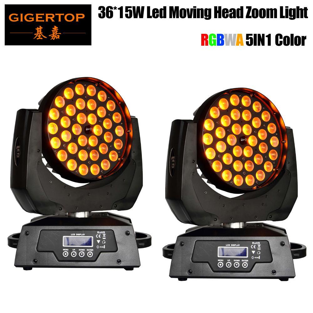 Yüksek Kaliteli 2adet / lot 36 x 5in1 RGBW Amber Renkli 18 DMX kanal LED Sahne Aydınlatma Tiyatro Işık ile Baş Zoom'u Hareketli 15W LED