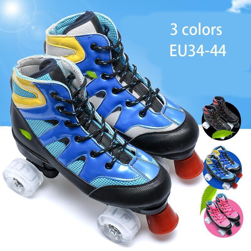 Roller Skates Chaussures Double ligne Skates Femmes Hommes Adulte Deux Chaussures Skate Skate Patins Pu 4 Roues Shase Chaussure de patinage pour fille