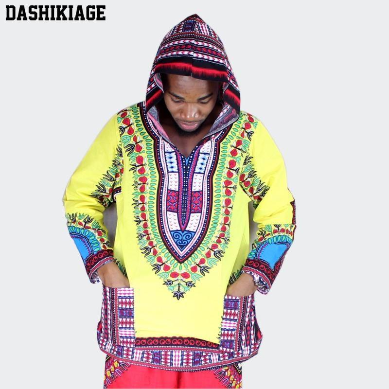 Этническая одежда африканская африканская американец желтый и красный с длинным рукавом 100% хлопчатобумажная футболка с капюшоном dashiki с капюшоном