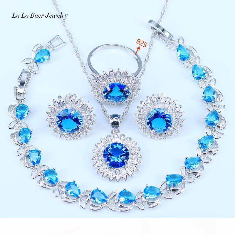 Calde del fiore pietre blu bianco CZ 925 Sterling Silver Wedding I monili per gli anelli della collana del pendente Orecchini Donna Bracciali
