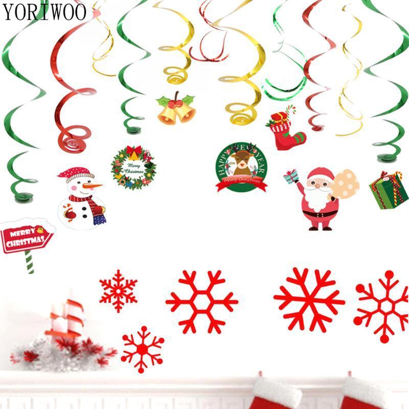 YORIWOO Babbo Natale Hanging turbinio Buon decorazioni di natale per la casa fai da te regalo del mestiere Xmas Tree Ornament Garland Capodanno 2021