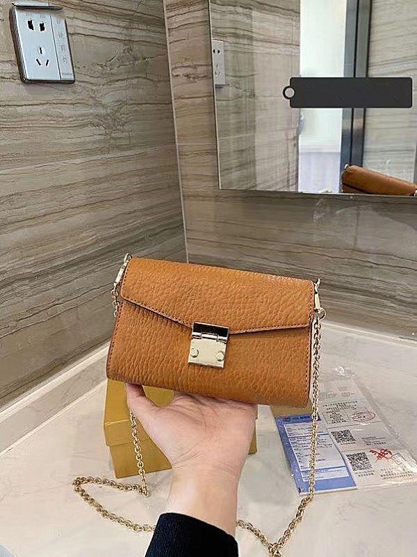 Nuevo bolso inclinado de un solo hombro de cuero 20 cm Bolsa de mujer de alta calidad para mujer Moda Gold 2020 Wallet Handbag Design Cross Chain Gidel