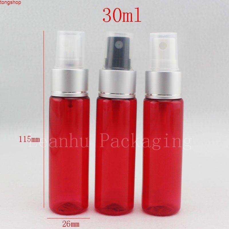 Botella de spray roja 30 ml de hombro redondo gris plateado anodizado botellas de aluminio plástico 50pcs / lotgood qualtity