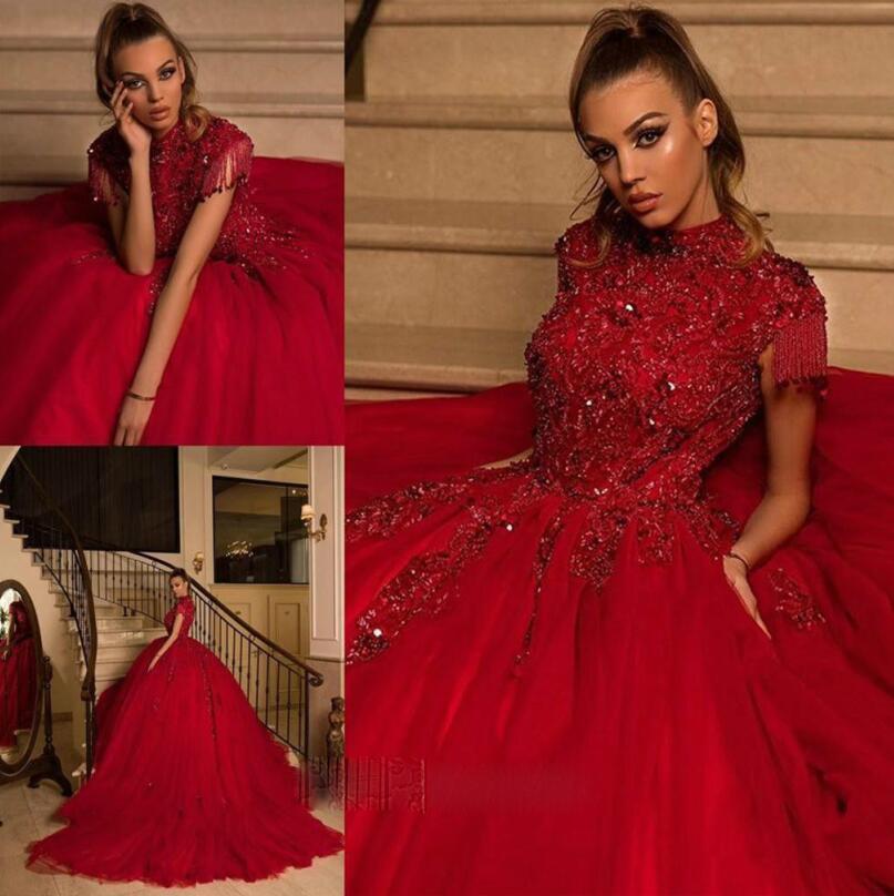 Arabe col haut perle rouge robes de bal rouge manches gonflées robes de soirée tulle balayer forme formel pageant