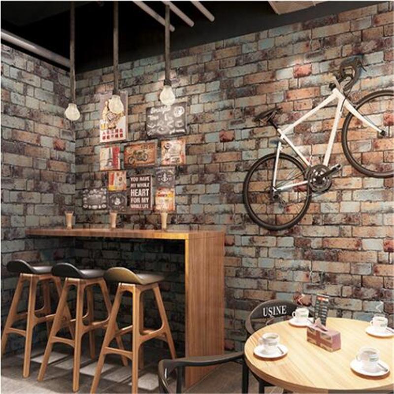 Nuevo Papel pintado de ladrillo blanco antiguo 10M Vintage Restaurante Bar Ropa Tienda Tea Tienda Ladrillos Papel pintado Papel de Parede