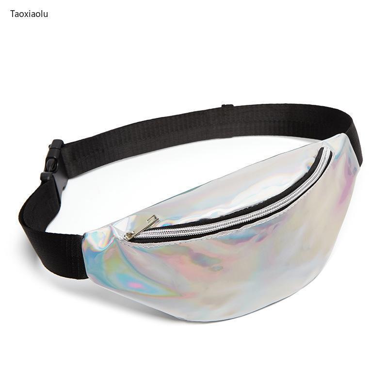 Талия Сумки Голографические ПВХ лазерные женские пакеты блестящие женские Fanny мобильный кошелек сундук кошелек для девочек скрещивание сумка серебро