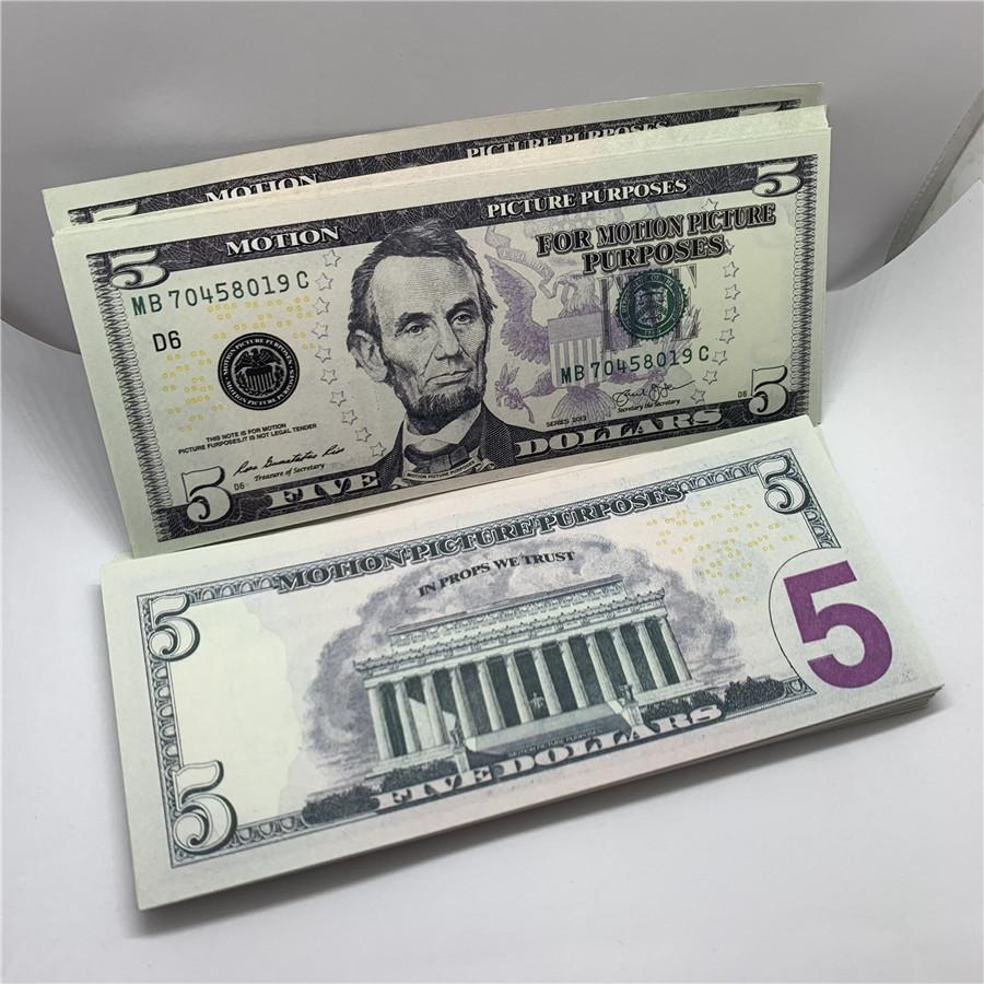 Toy U.S.currency Bar Children Forged 5 Bank Props Banknotes Shooting Mgclw Fake Performance F6 Copy Dollar Money Amtva