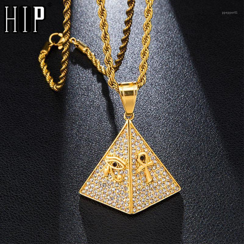 Хип-хоп, ледяной в виде Bling Egyptian Пирамида для пирамиды Вымощенные изготовленные из нержавеющей стали ожерелье из нержавеющей стали для мужчин ювелирные изделия1