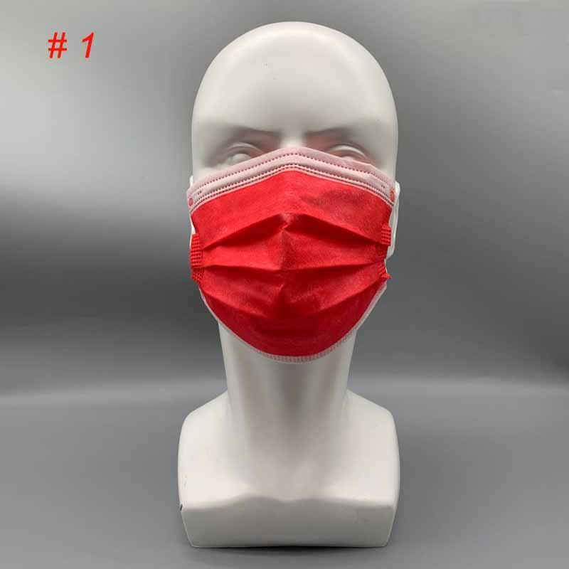 Faccia Maschere colorate Monouso Adulto Adulto Adulto Balck Balck Balck Cover Non-tessuto 50pcs / borsa Polvere Maschere Grigio Grigio 3-Ply Mask DKXPJ GSSJE