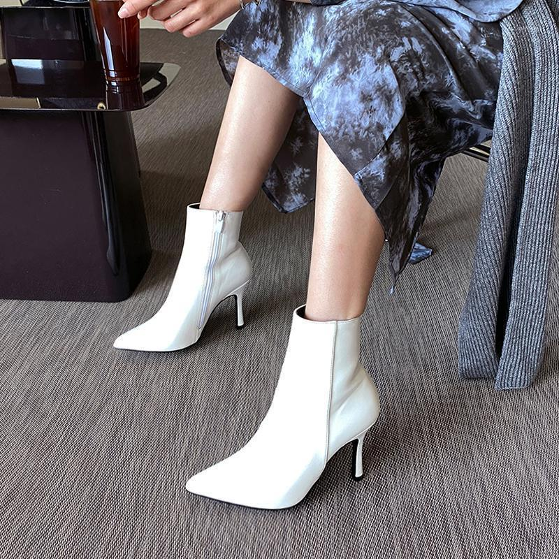 Leder Frauen Stiefel Schuhe Frauen Gezeigt High Heels Stiletto Reißverschluss Ankle Stiefel 2021 Mode Neue Weiß Braun Schwarz Größe 33-421