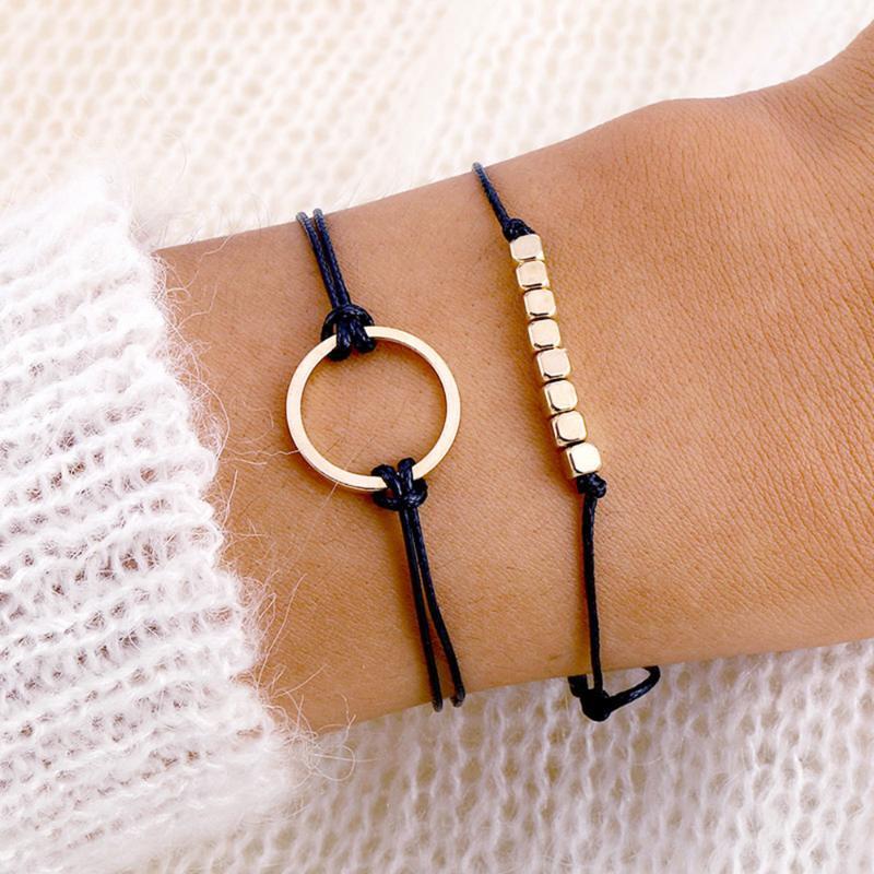 2pcs / set Semplice fascino dell'oro donne del braccialetto regolabile corda del cuoio nere bracciali Delicate rotonda dei monili del braccialetto di Boho di moda