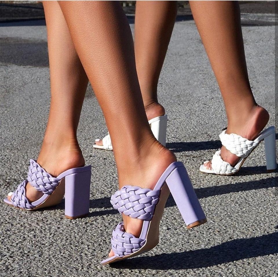 Sqaure Toe rouge matelassé rouge mule talon chaussure PU Haute talon chaussures femmes sandales Sandales Sliger chaussures Zapatos Mujer Blanc Bleu # RF3J