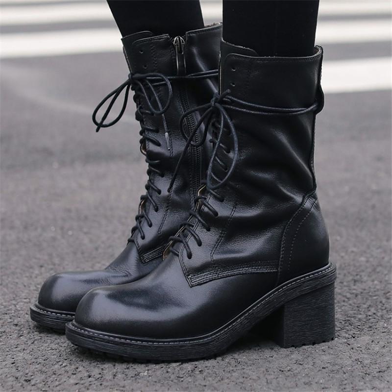 Pxelena 2021 Sapatos de outono de couro genuíno motocicleta motocicleta combater botas de tornozelo mulheres lace up redondo Toe chunky bloco alto saltos altos 42