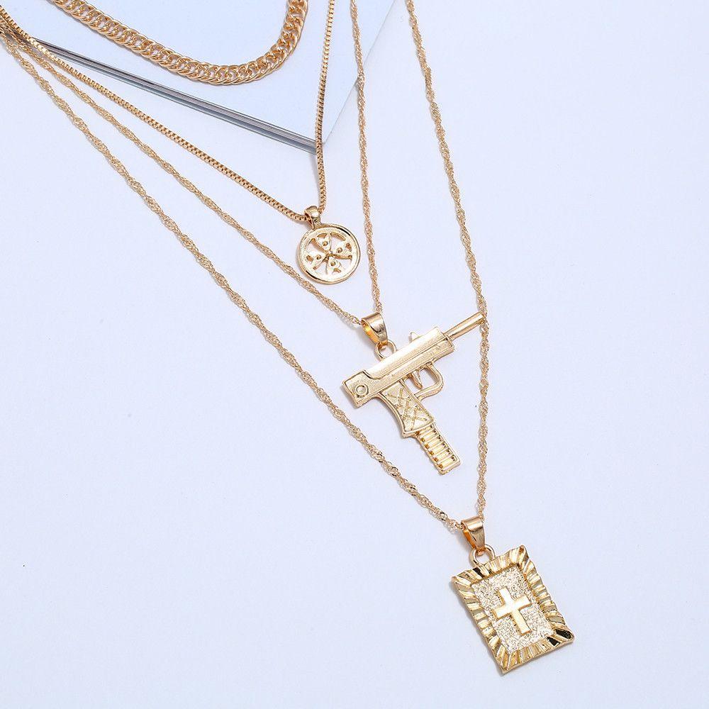 Gargantilla colgante, collar de múltiples capas collares para las mujeres pistola Cruz del color oro plata larga cadena de acoplamiento de