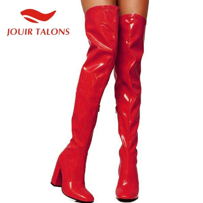 Jouir TALONS alta qualidade Brand Design mulheres sapatos cor de doces Multicolor Rodada Toe Over-the-knee Praça grossas Salto Sapatinho