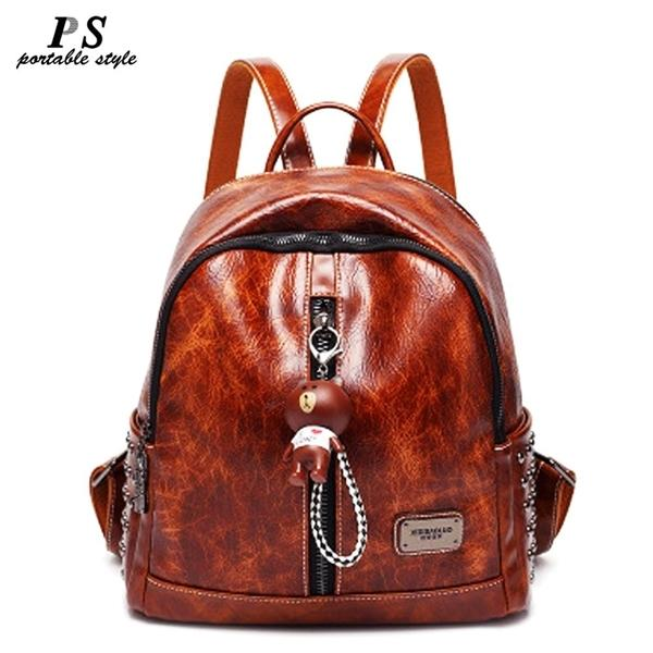 Women Fashion Backpacks Female Designer Leather Shoulder Bags Large Capacity Travel Backpack for Girls School Femme Bag Sac Q1104