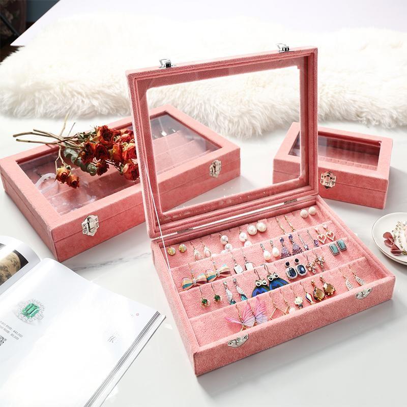M Velvet vidro de jóias caixa de jóias Tray Titular Caixão de armazenamento Organizer 2020 Brincos caixa Z1131