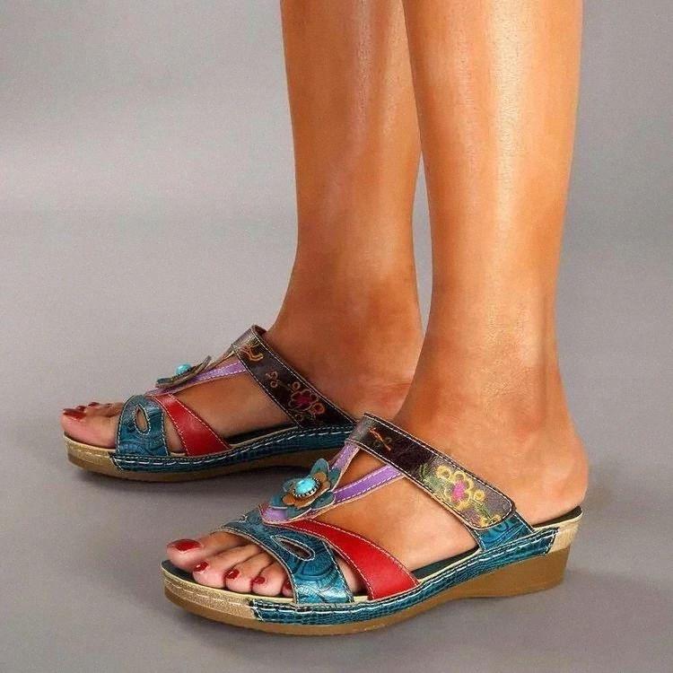 Pantoufles d'été Chaussures Femmes Chaussures Ethniques Sandales de fleurs Vent Rétro Bohemian Fashion Coin décontractés Open Toe Mesdames Pantoufles Taille Taille # XZ88