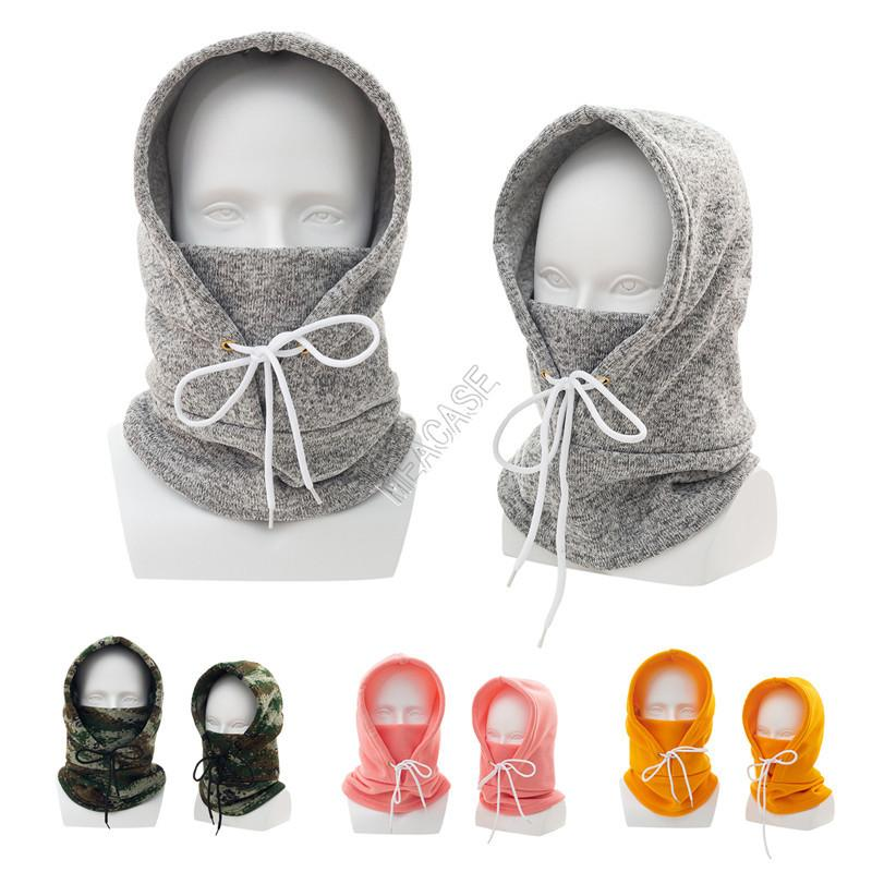 Winter Warm Parent-child Crochet Hats Unisex Adults Kids Windproof Outdoor Skiing Hoods Caps Ear Face Protection Knitted Hat Collar D102801