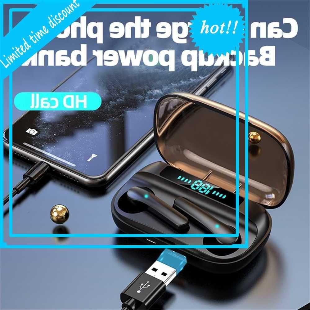 JS33 TWS Touch Wireless Bluetooth 5.0 Earphones Space Printing Stereo Sport Binaural Call Headset مع ميكروفون للهاتف