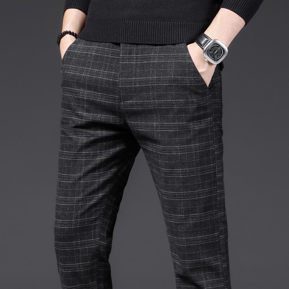 Otoño del resorte nuevos pantalones casuales de los hombres casuales y trousersCotton y la versión de lino pantsKorean de cáñamo algodón delgado helado pantalones de los hombres de la tela escocesa T